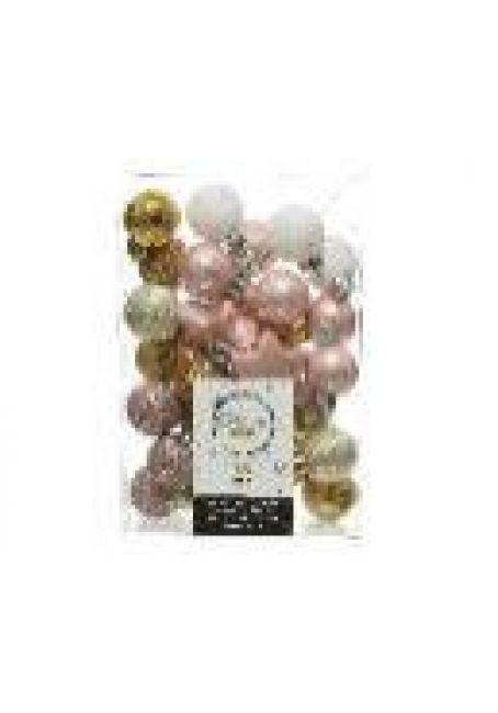 Набор пластиковых шаров и звездочек 33 шт (розовый, перламутровый, белый)
