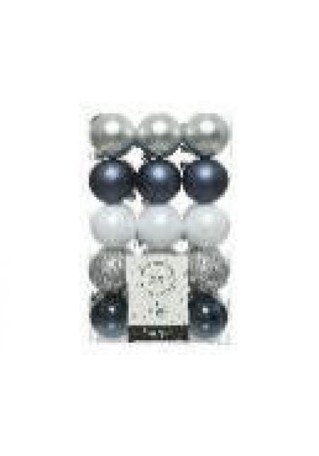 Набор пластиковых шаров 6 см, 30 шт (серебряный, синий матовый, белый,  серебряный, синий)