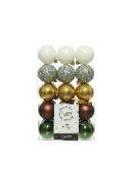Набор пластиковых шаров 6 см, 30 шт (белый, серебряный, золотой, коричневый, зеленый)
