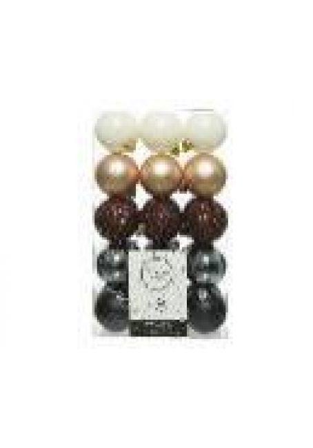 Набор пластиковых шаров 6 см, 30 шт (белый, перламутровый, коричневый, стальной, черный)