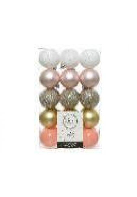 Набор пластиковых шаров 6 см, 30 шт (белый, перламутровый, серебряный, золотой, розовый)