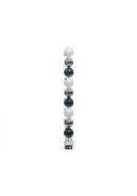 Набор пластиковых шаров 6 см, 10 шт (белый, серебряный, темно-синий)