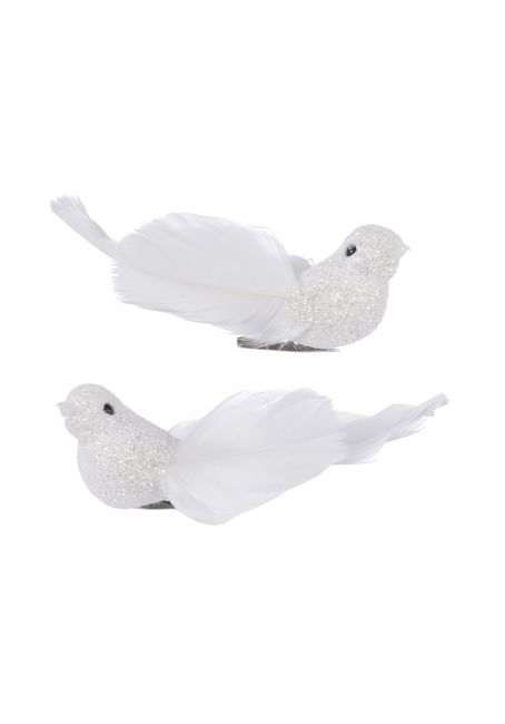 Птичка из перьев 9х2.5х3 см (белый с блестками)