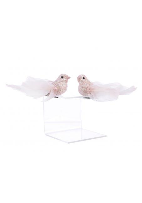 Птичка из перьев 9х2.5х3 см (розовые румяна с блестками)