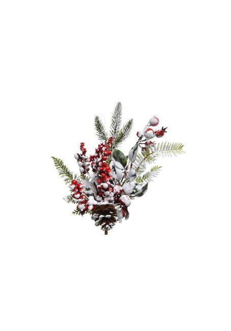 """Ветка с декором """"мороз-красные ягоды"""", 7x14x30 см"""