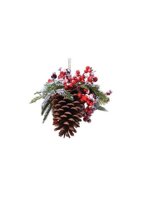 """Ветка с декором """"мороз-красные ягоды"""", 13.5 см"""